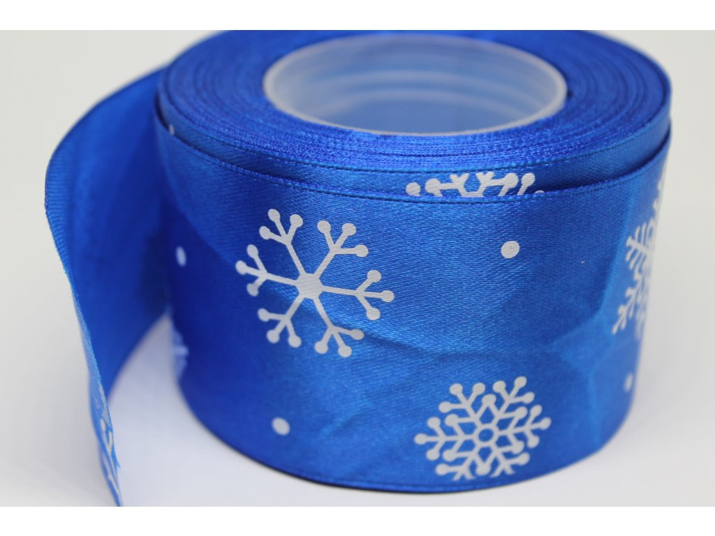Saténová stuha s bielymi vločkami 50 mm modrá
