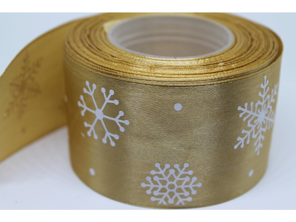 Saténová stuha s bielymi vločkami 50 mm zlatá