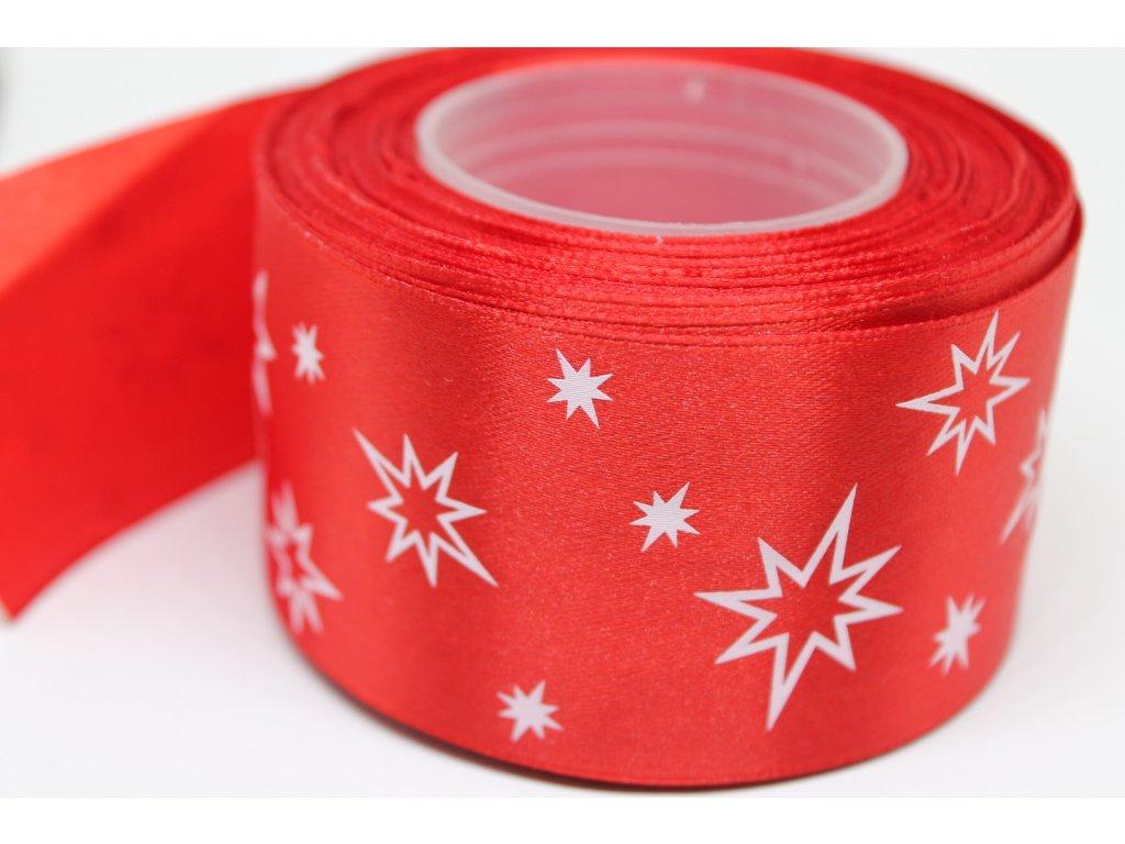 Saténová stuha s bielymi hviezdičkami 50 mm červená