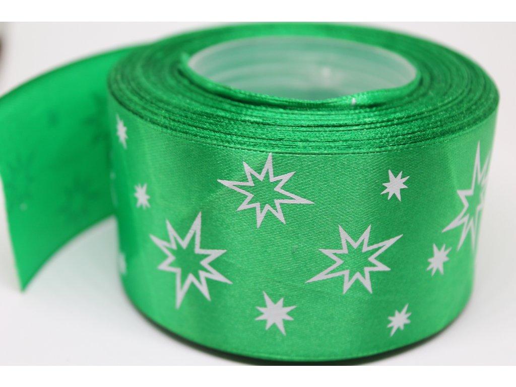 Saténová stuha s bielymi hviezdičkami 50 mm zelená