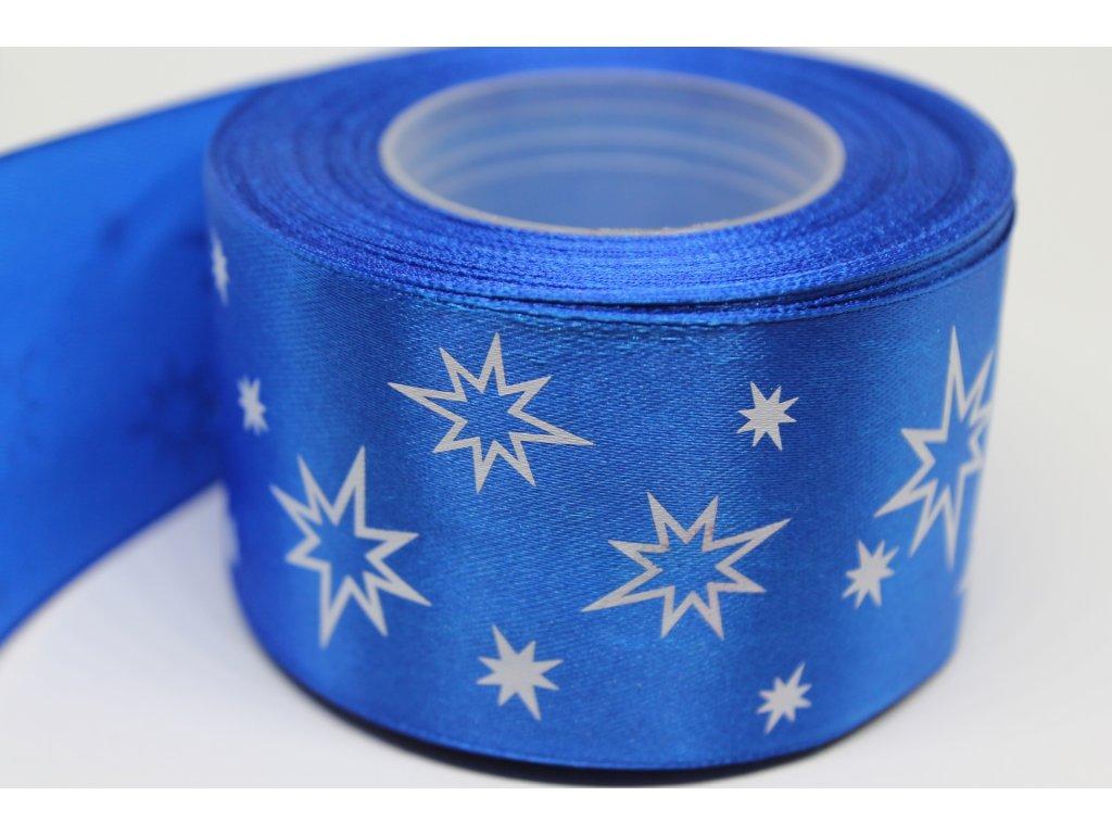 Saténová stuha s bielymi hviezdičkami 50 mm modrá