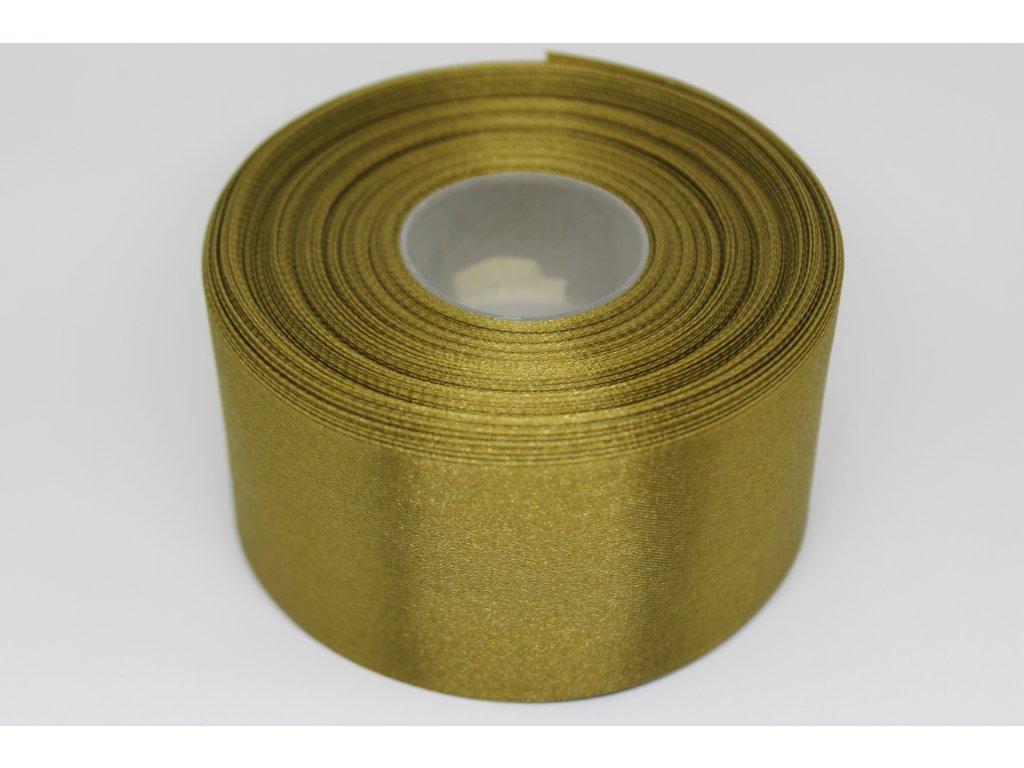 Saténová stuha 50mm A028 bronzovo zelená