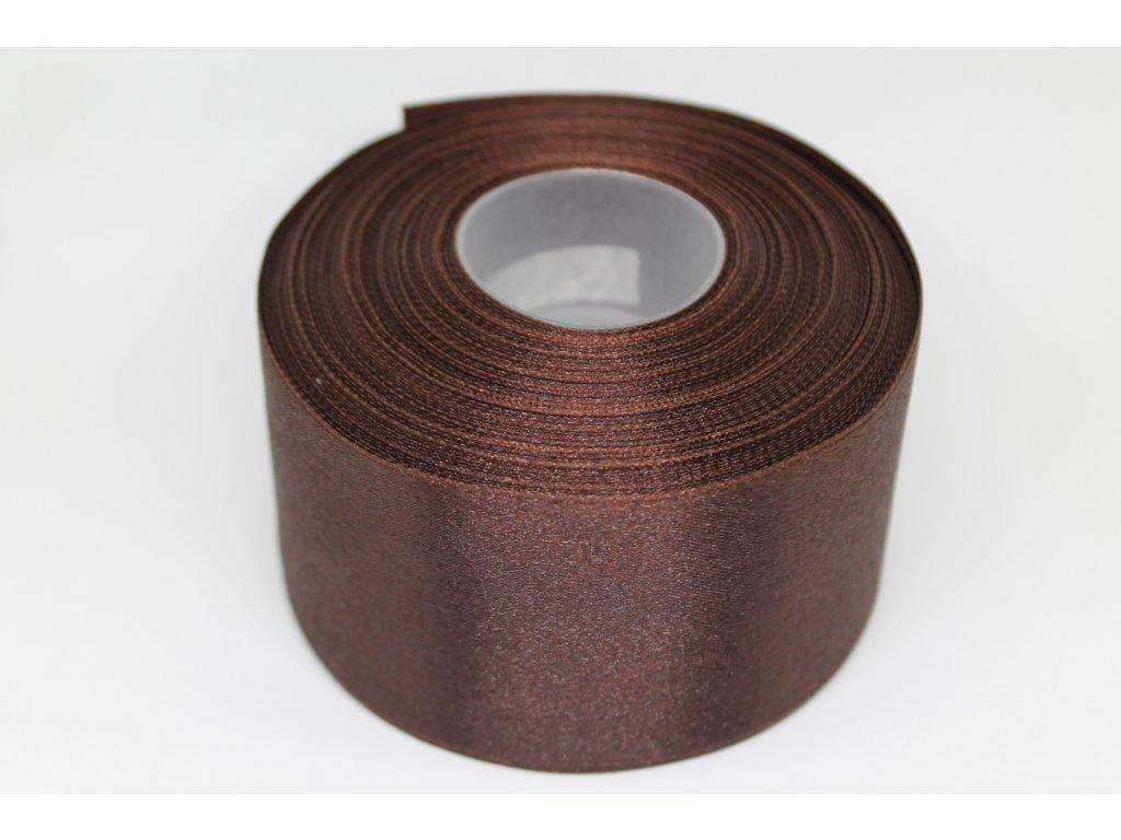 Saténová stuha 50mm A089 tmavá čokoláda