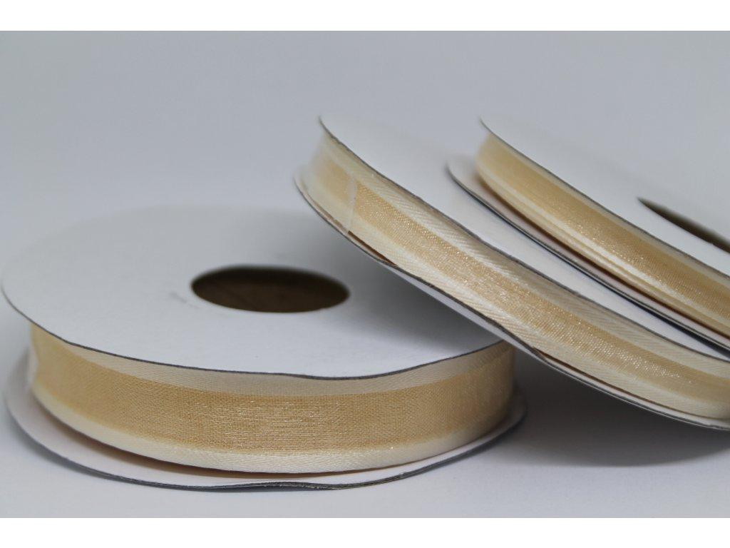 Šifónová stuha ivory s lemom 15mm 010