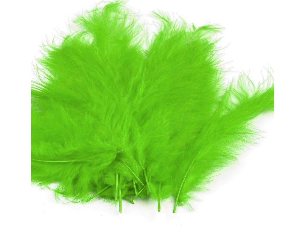 Dekoračné perie 10g žiarivo zelené