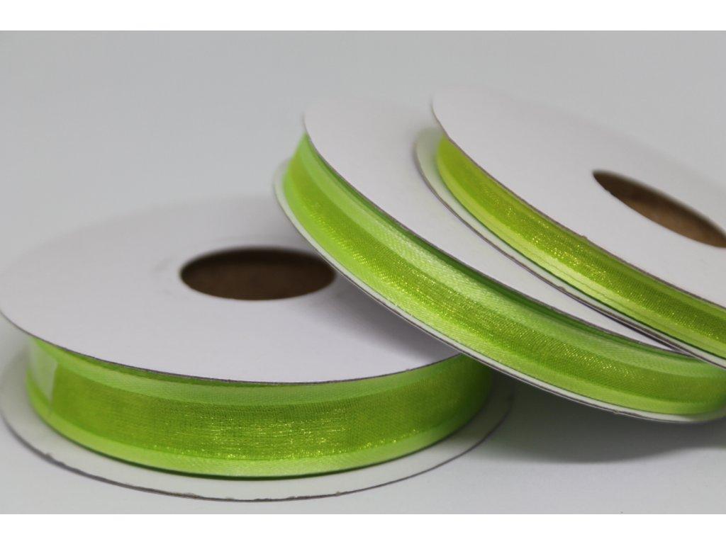 Šifónová stuha zelená s lemom 6mm 083