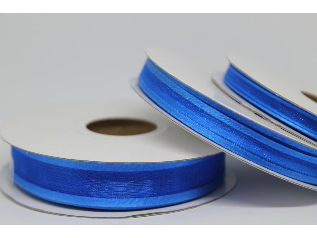 Šifónová stuha žiarivá modrá s lemom 6mm 093