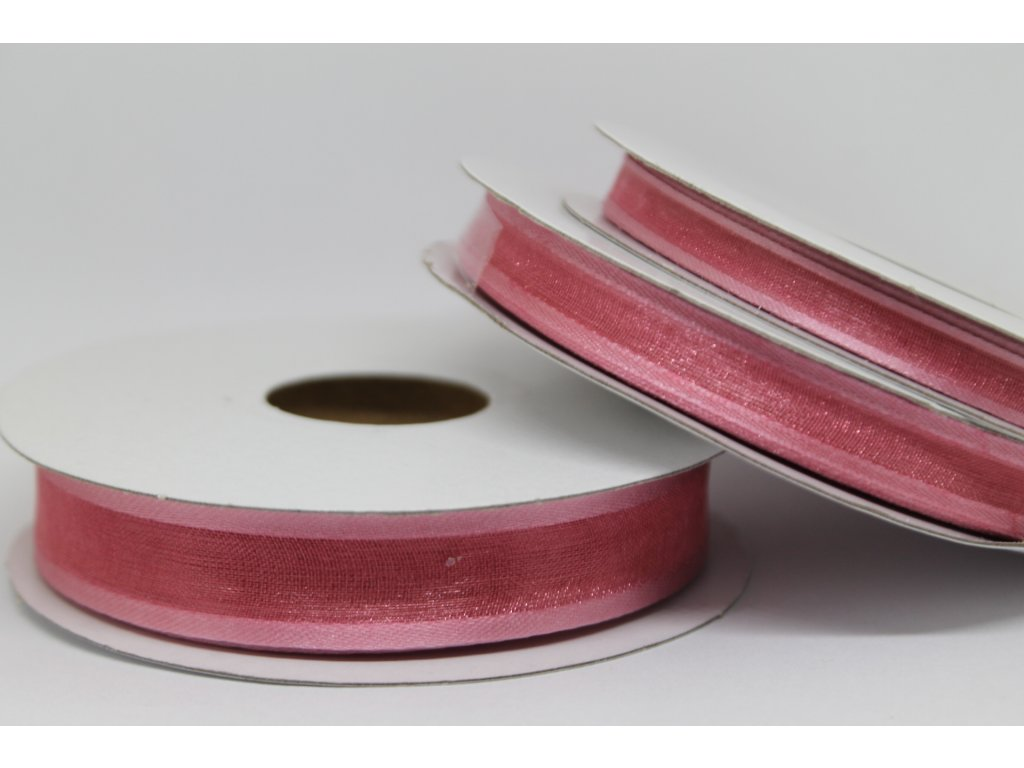 Šifónová stuha lososová s lemom 9mm 033