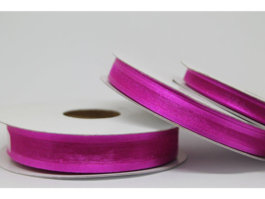 Šifónová stuha cyklaménová s lemom 9mm 044