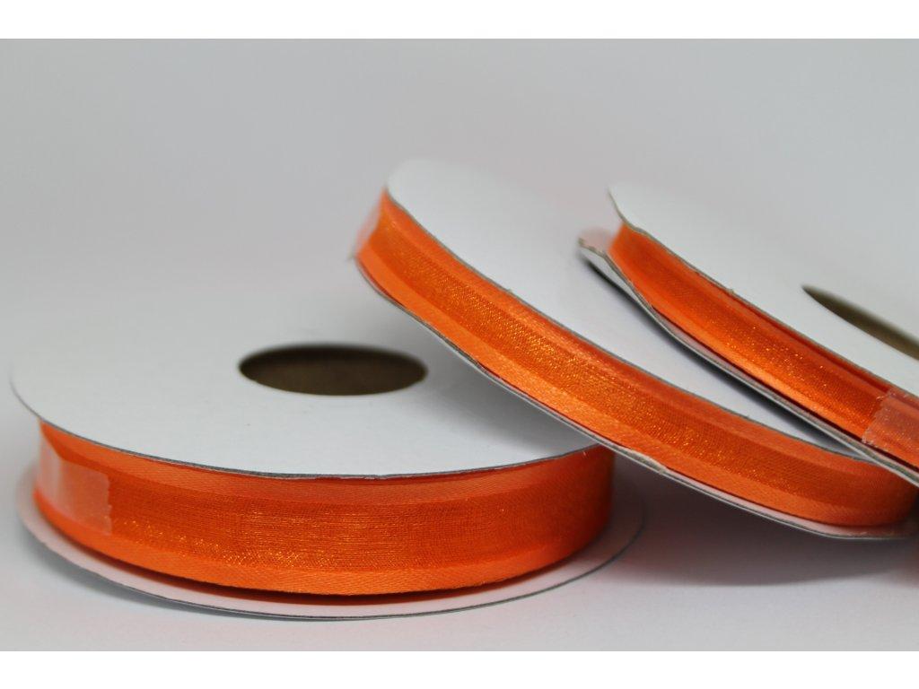 Šifónová stuha oranžová s lemom 15mm 030
