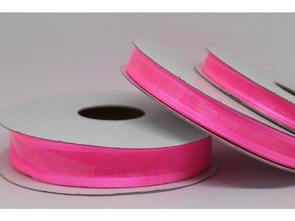 Šifónová stuha ružová s lemom 15mm 040