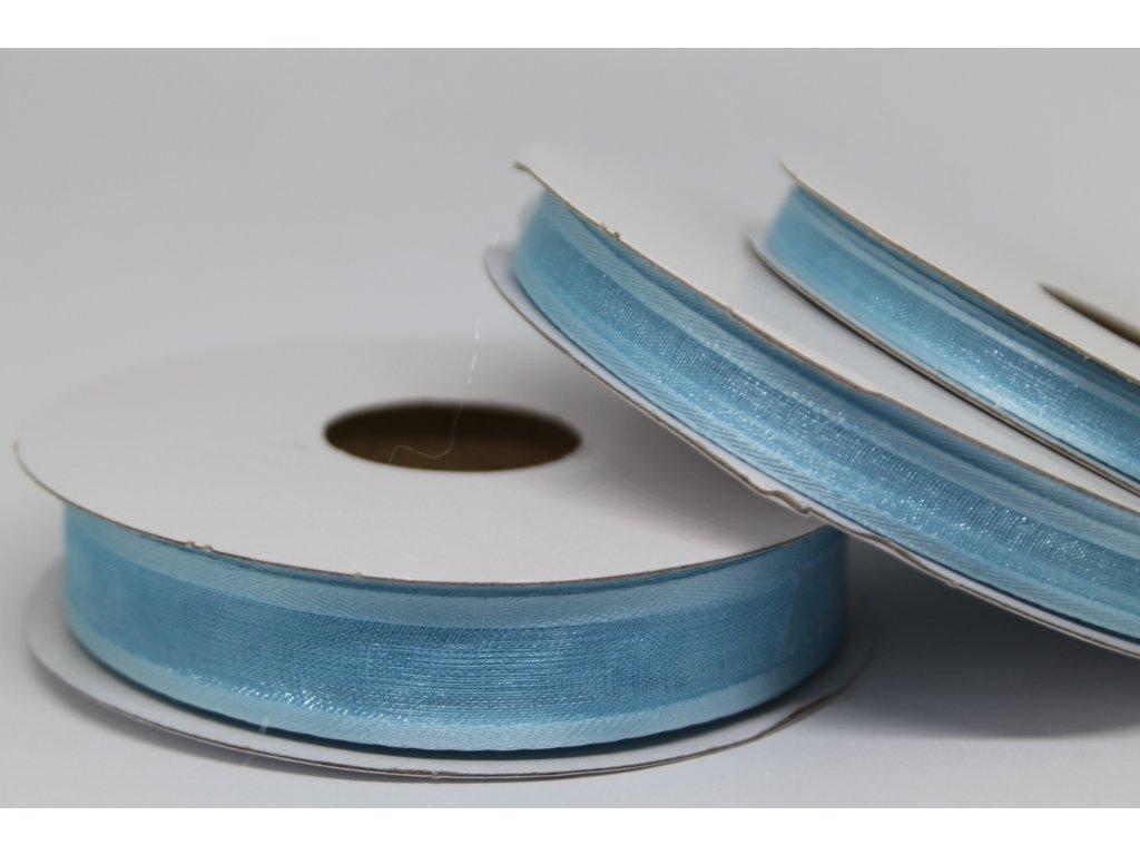Šifónová stuha svetlo modrá s lemom 15mm 091