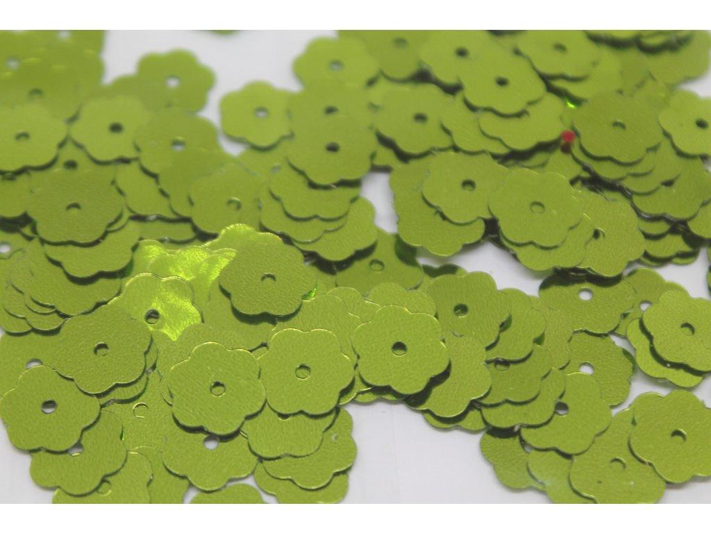 Flitre kvetinky žiarivo zelené 10mm/5g