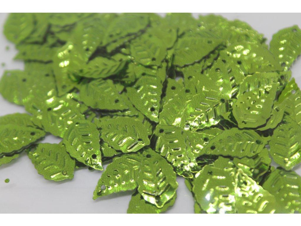 Flitre lístočky žiarivo zelené 15x25mm/5g