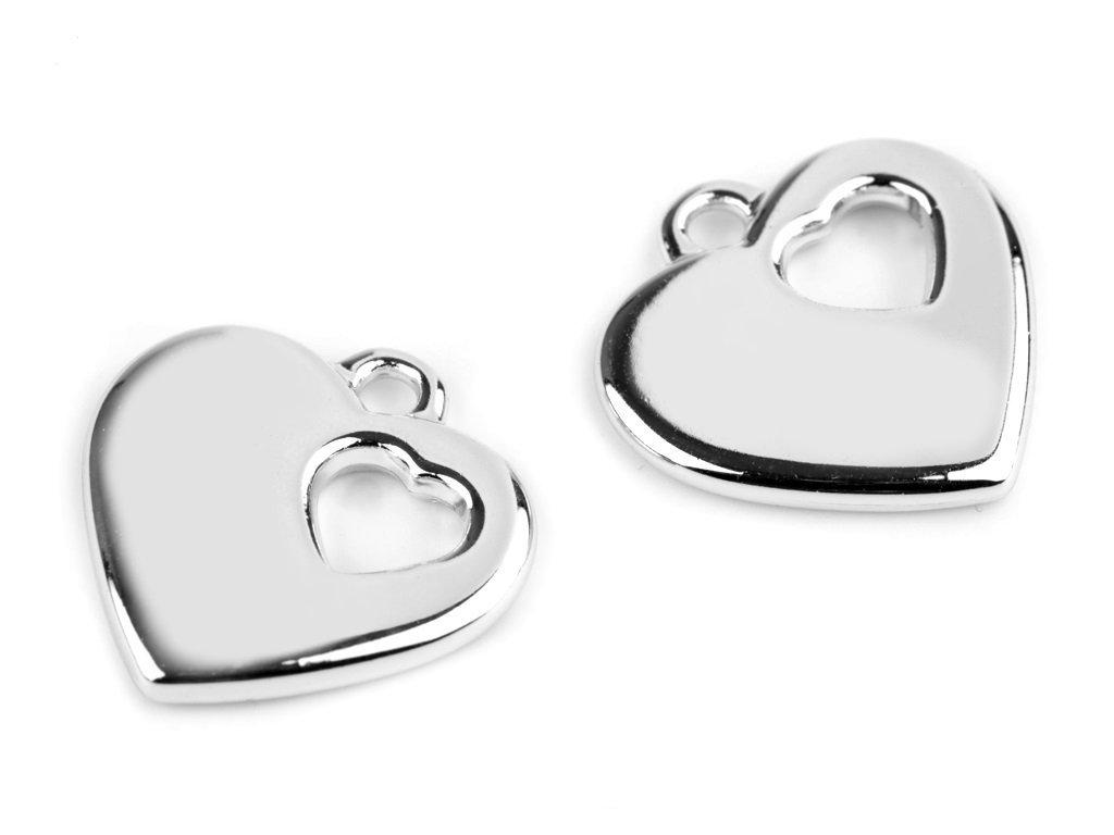 Plastový prívesok srdce 24x24mm