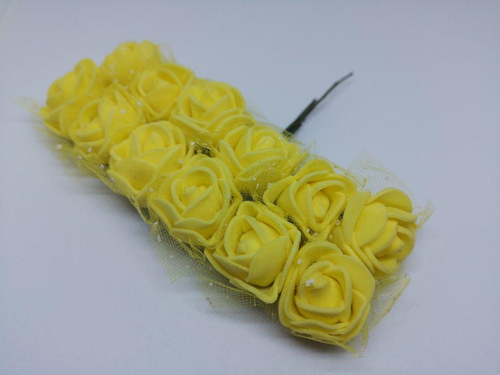 Penové ružičky žlté s tylom