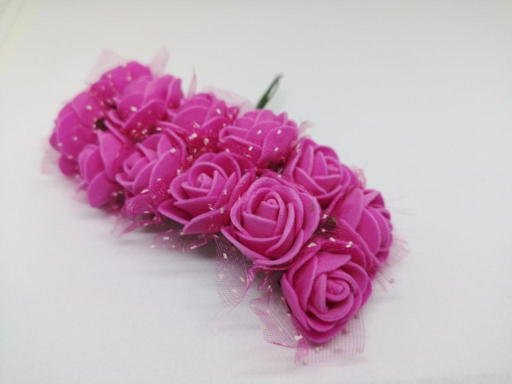 Penové ružičky cyklaménové s tylom