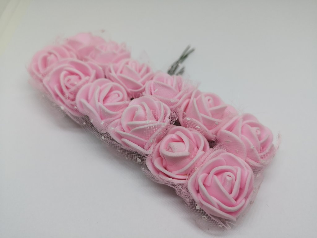 Penové ružičky svetlé ružové s tylom