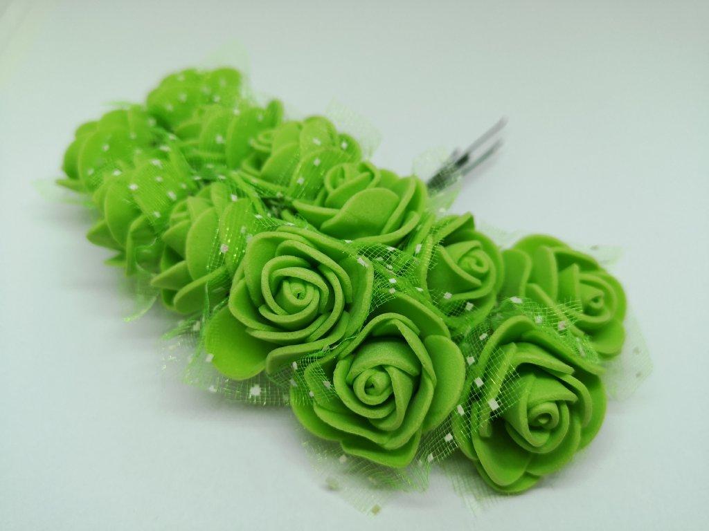 Penové ružičky žiarivé zelené s tylom