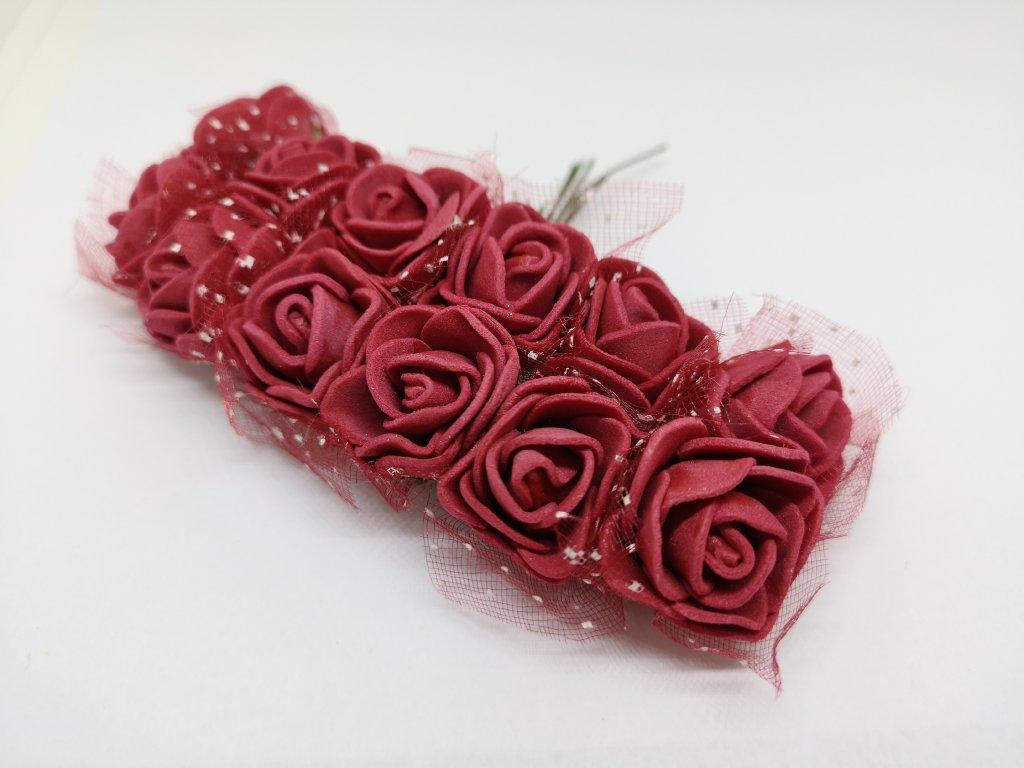 Penové ružičky bordové s tylom