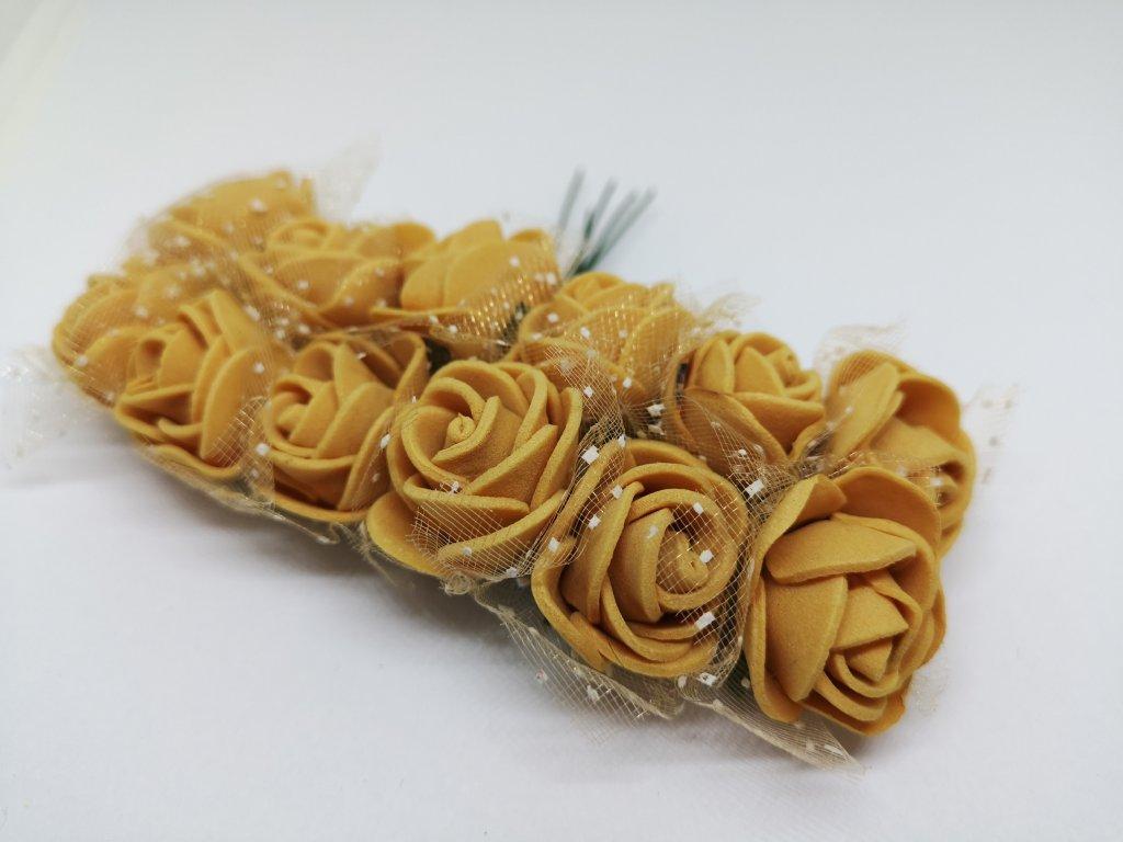 Penové ružičky zlaté s tylom