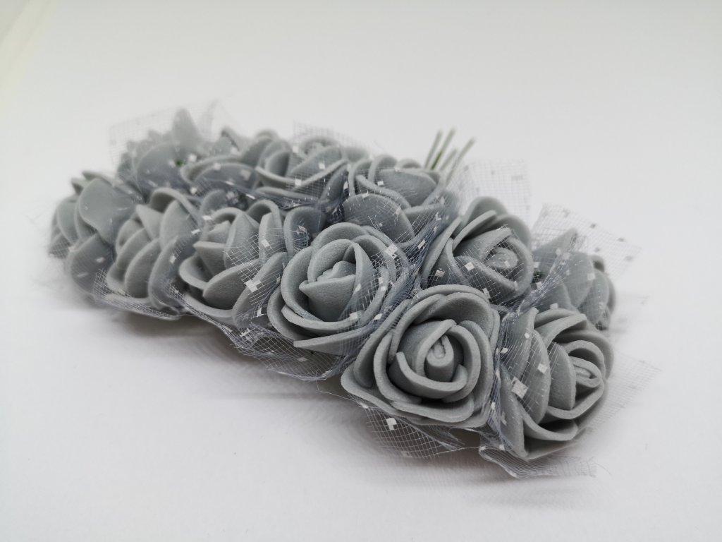 Penové ružičky sivé s tylom