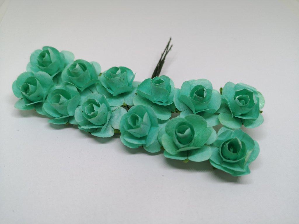Papierové ružičky azurové