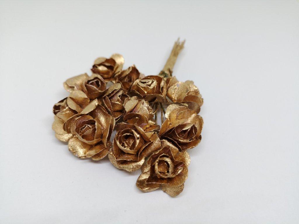 Papierové ružičky zlaté