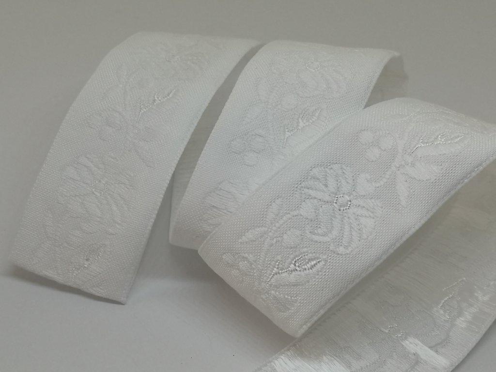 Krojová stuha vyšívaná 22mm biela