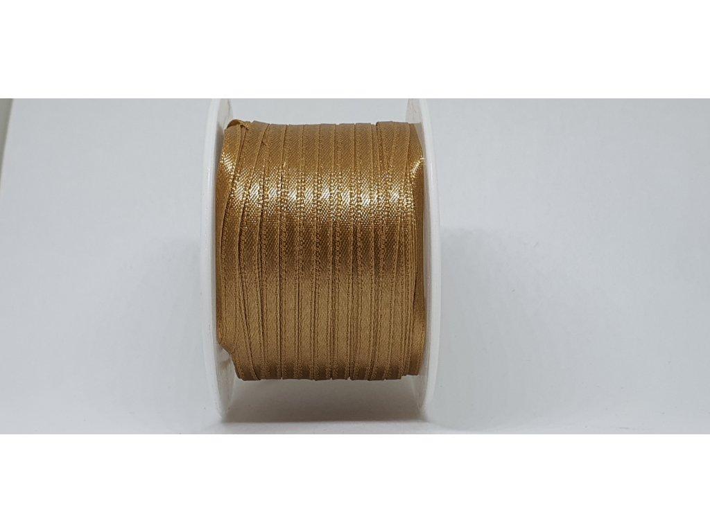 Saténová stuha 3,5mm A078 staro zlatá