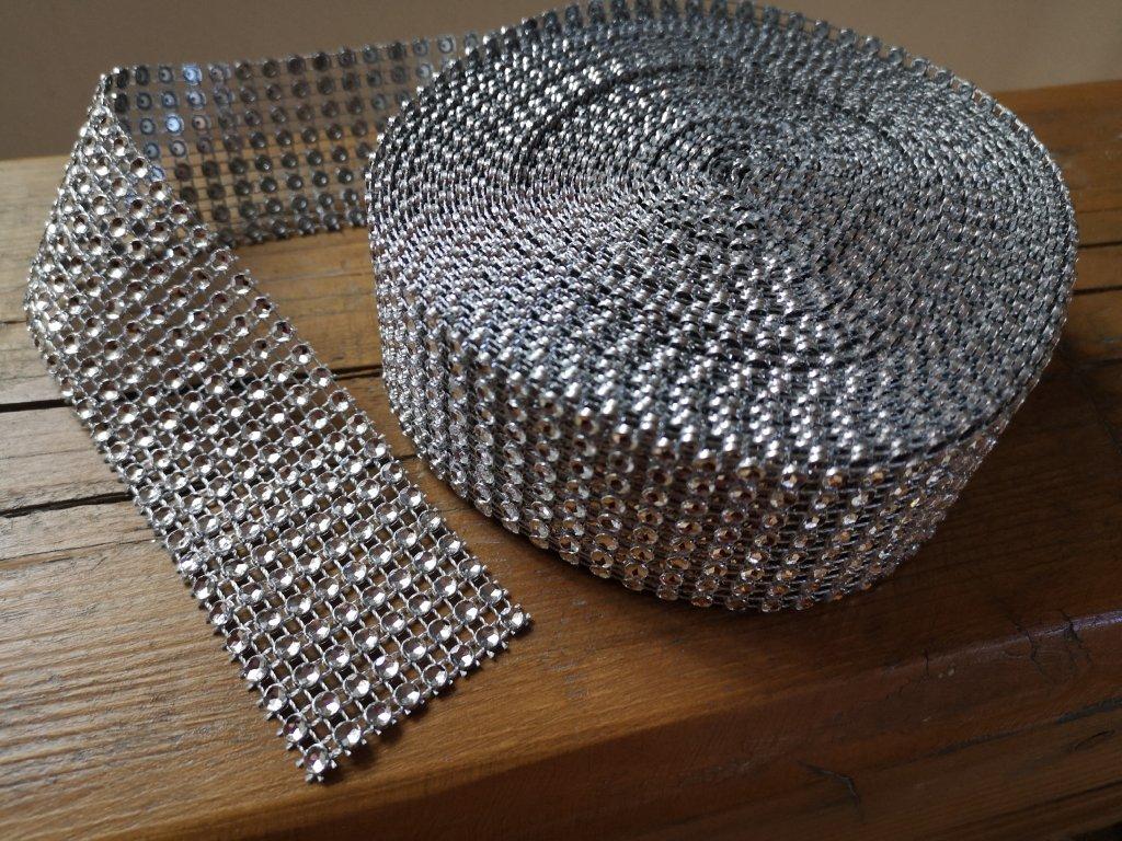 Diamantový pás 40mm strieborný