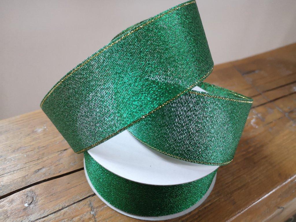 Brokátová stuha 38mm zelená so zlatým lemom