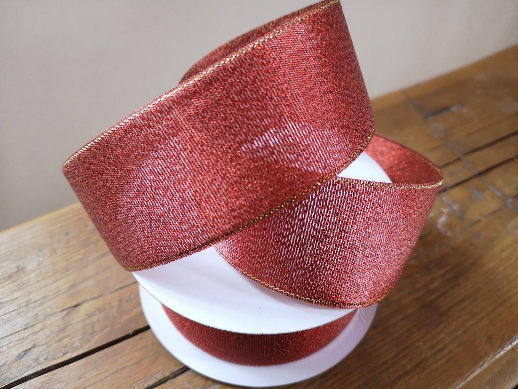 Brokátová stuha 38mm červená so zlatým lemom