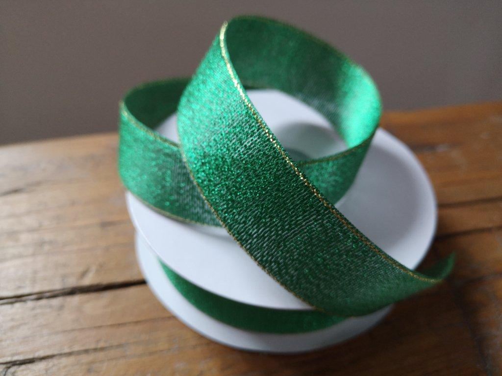 Brokátová stuha 25mm zelená so zlatým lemom