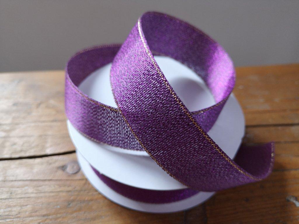 Brokátová stuha 25mm purpurová so zlatým lemom