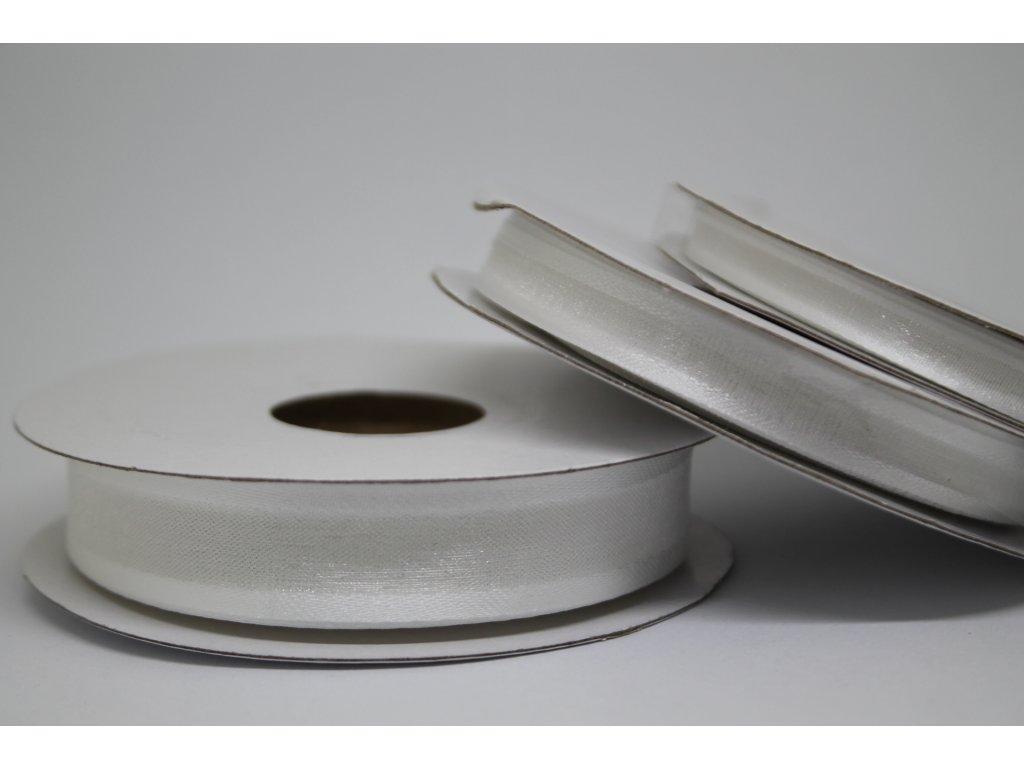 Šifónová stuha biela s lemom 12mm 001