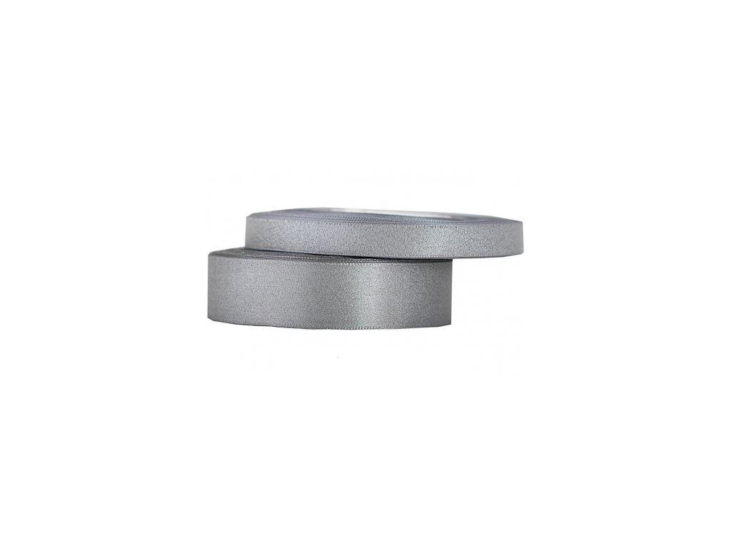wstazka satynowa z brokatem 12mm 22mb srebrna