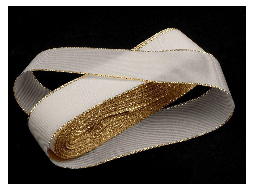 Taftová stuha s lurexom 25mm/10m biela - zlatá 100