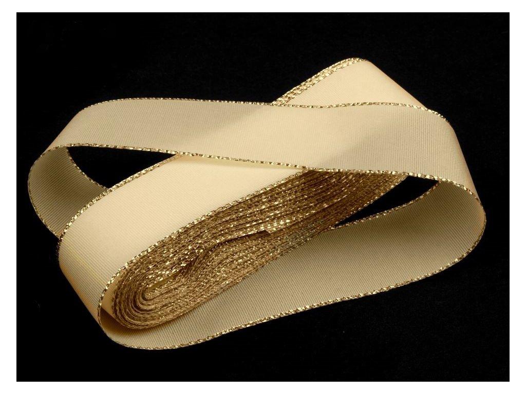 Taftová stuha s lurexom 25mm/10m svetlá krémová - zlatá 201