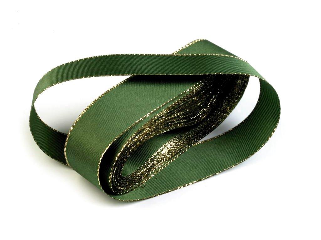 Taftová stuha s lurexom 6mm/10m zelená - zlatá 322