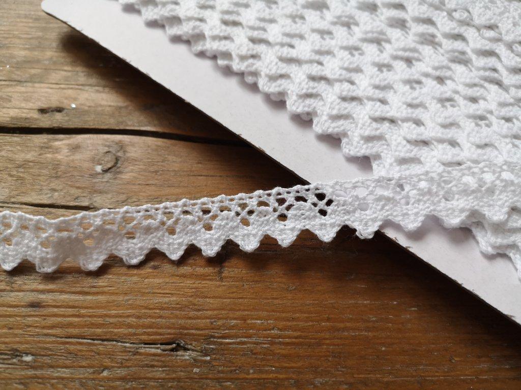Čipka bavlnená biela 15mm