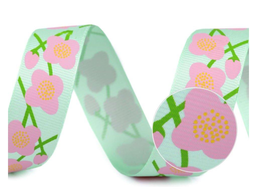Rypsová stuha s kvetmi 25mm mentolová