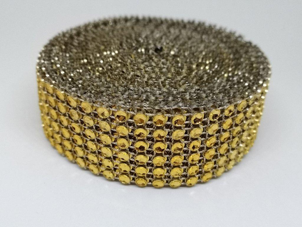 Diamantový pás 30mm zlatý