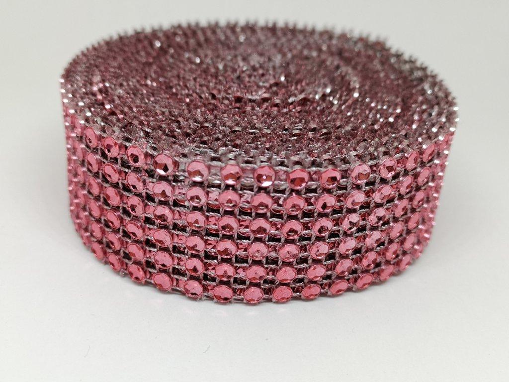 Diamantový pás 30mm punčovo ružový