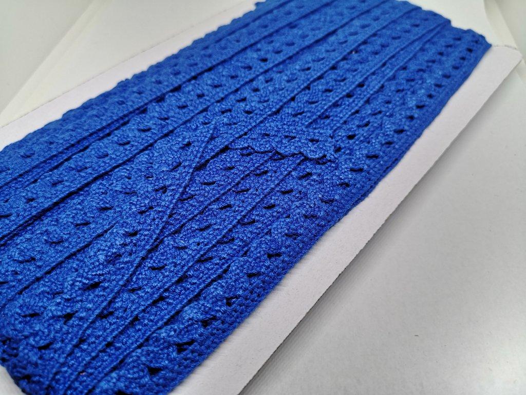 Čipka bavlnená modrá 12mm