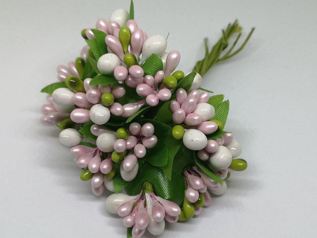 Tyčinky do kvetín s korálikmi ružovo biele 001/040