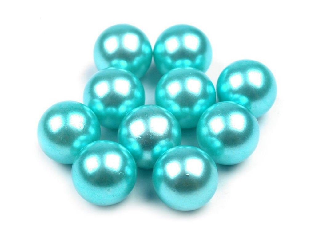 Dekoračné guľky bez dierok Ø10 mm/10ks tyrkysové