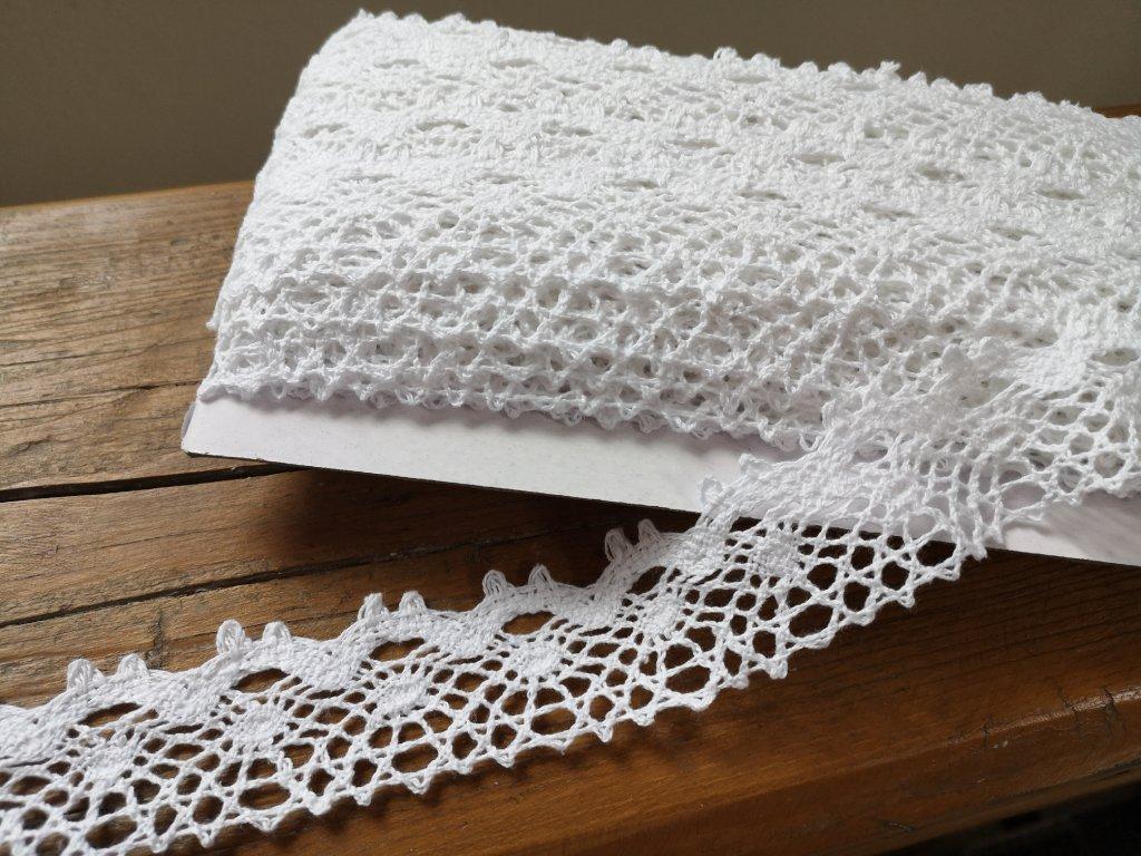 Čipka bavlnená biela 33mm
