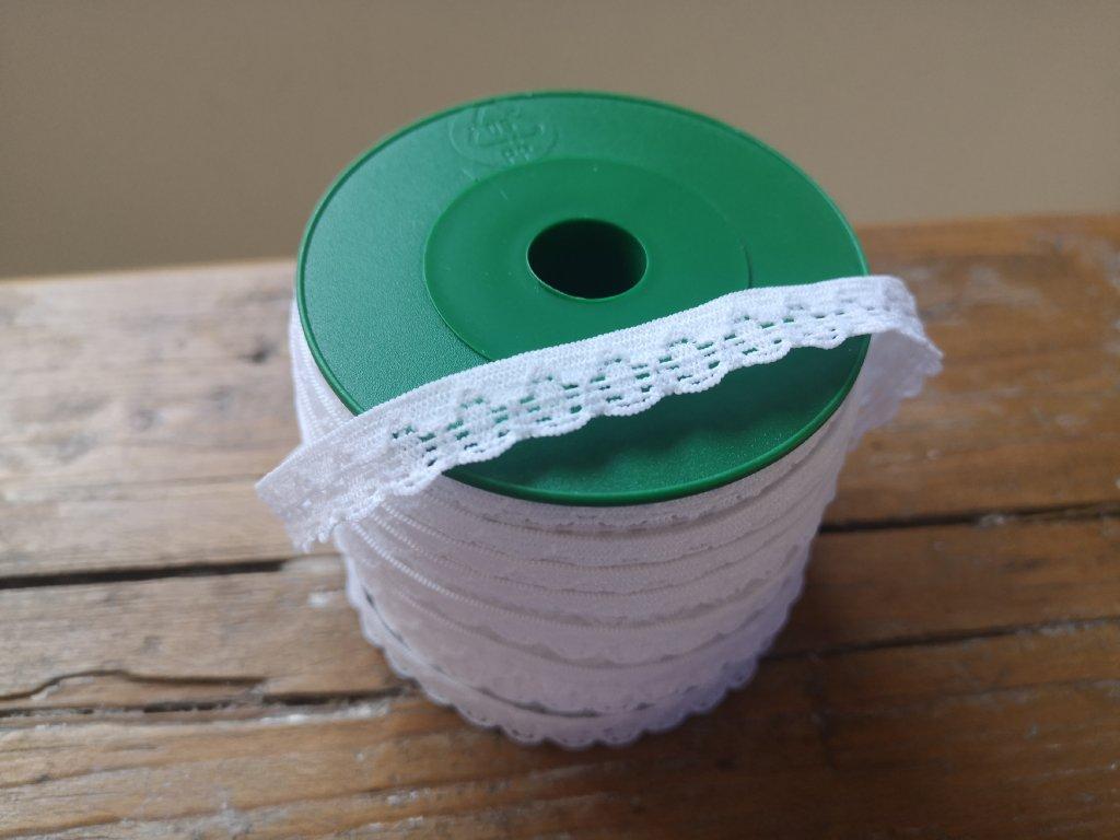 Guma prádlová s krajkou 10mm/25m biela