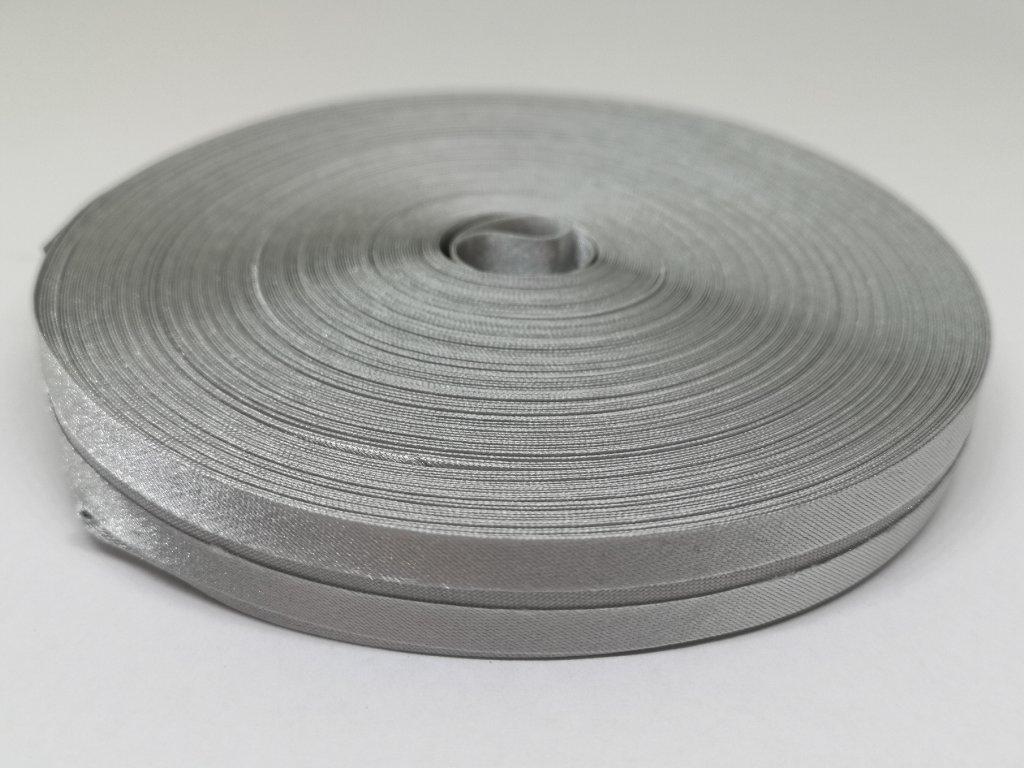 Šikmý prúžok saténový 14mm svetlý šedý